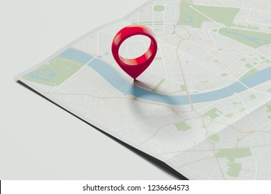 Red geotag or pin on realistic map. 3d rendering.
