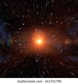 Red giant star in the deep space