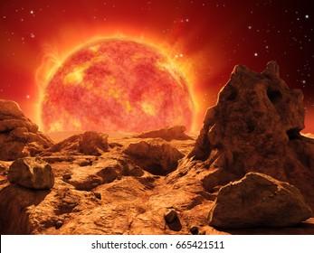 Red giant star on the horizon of a desert planet. 3D illustration.