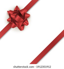 Red gift bow with ribbon for holiday card. realistic ribbon isoladed on white background.