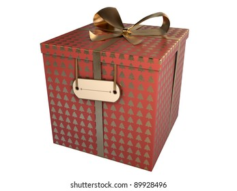 red gift box with golden christmas trees isolated on white