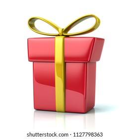 Red gift box with golden ribbon and bow 3d illustration on white background