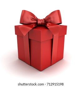 Red gift box or red present box with red ribbon bow isolated on white background with shadow and reflection . 3D rendering.