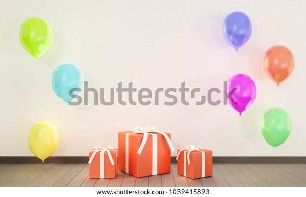 Red gift boxes with color balloons. 3D rendering.