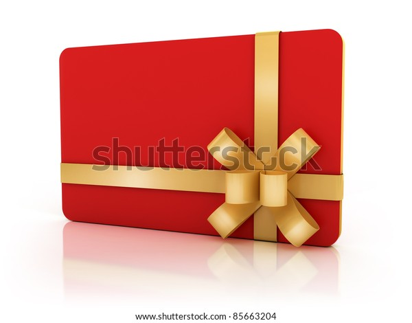 red gift card with golden ribbon