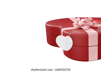 Red giftbox and greeting card heart shaped and ribbon for valentines isolated on white background with clipping path, copy space, 3d rendering