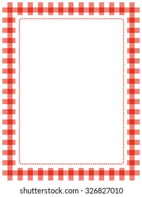 Red gingham border / frame with empty white space