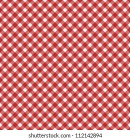 Red  gingham fabric  background that is seamless