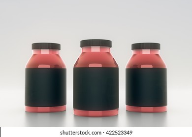Red glass bottles with empty black labels on light background. Mock up, 3D Rendering