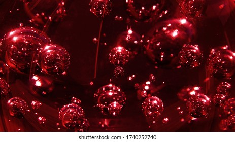 Red glass bubbles abstract background