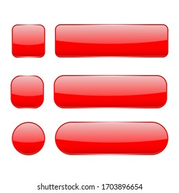 Red glass buttons. Web 3d shiny icons set. Illustration isolated on white background. Raster version