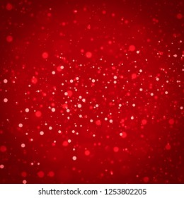 Red glitter vintage lights background. defocused christmas