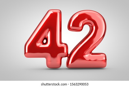Red glossy balloon number 42 isolated on white background. 3D rendered illustration. Best for anniversary, birthday, new year celebration.
