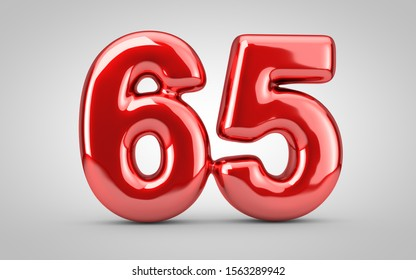 Red glossy balloon number 65 isolated on white background. 3D rendered illustration. Best for anniversary, birthday, new year celebration.