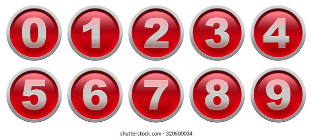 Red glossy buttons with white digit isolated over white background set