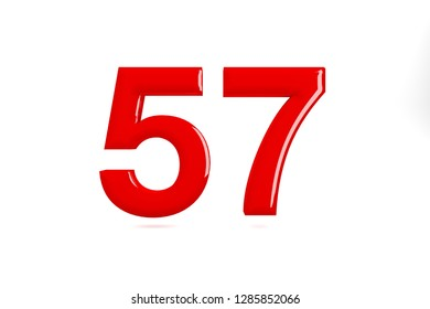 Red glossy number 57 bold. 3D rendering font painted with red polish and light reflection isolated on white background with clear shadow