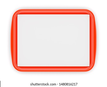 Red glossy plastic fast food tray with blank white advertising paper liner on isolated on white background. 3D illustration
