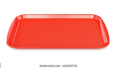 Red glossy plastic food tray isolated on white background. Front view. 3D illustration