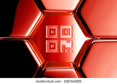 Red Glossy Qrcode Icon in the Metalic Honeycomb. 3D Illustration of Red Barcode, Code, Qr, Qrcode, Quick Response, Scan Icons on Geometric Hexagon Pattern.