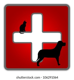 The Red Glossy Style Pet First Aid Sign Isolated on White Background