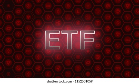 Red glowing text on bitcoin and alt coins hexagon symbol background. SEC delays decision approving ETF fund cause crypto market stumble down