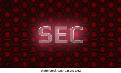 Red glowing text on bitcoin and alt coins background. SEC delays decision approving ETF fund cause crypto market stumble down