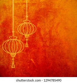 Red and gold abstract textured background with chinese lanterns. Lunar new year artistic wallpaper. Spring fesitval design element.