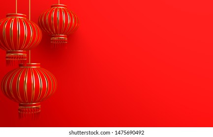 Red and gold chinese lantern lampion. Design creative concept of chinese festival celebration gong xi fa cai. 3D rendering illustration.