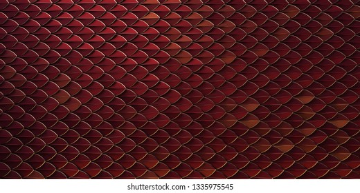 red and gold dragon reptile fish snake skales pattern backround. dragon skin 3d rendered background.