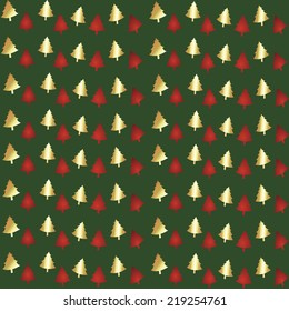 Red and gold foil Christmas trees on green repeating seamless pattern for background