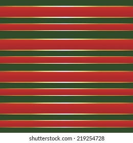 Red and gold foil straight holiday ribbon on green background repeating seamless pattern