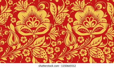 Red and gold hohloma seamless pattern texture. Russian traditional decoration in red and gold colors. Classic khokhloma background