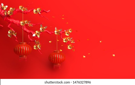 Red gold sakura flower and branch, cherry blossom, chinese lantern lampion. Design creative concept of chinese festival celebration gong xi fa cai. 3D rendering illustration.
