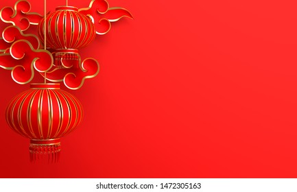 Red and gold traditional Chinese lanterns lampion and paper cut cloud. Design creative concept of chinese festival celebration. 3D rendering illustration.
