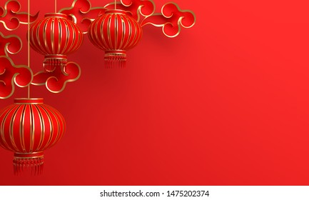Red and gold traditional Chinese lanterns lampion and paper cut cloud. Design creative concept of chinese festival celebration gong xi fa cai. 3D rendering illustration.