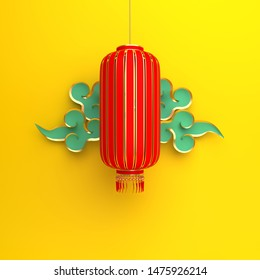 Red and gold traditional Chinese lanterns lampion and blue paper cut cloud on yellow background. Design creative concept of chinese festival celebration gong xi fa cai. 3D rendering illustration.