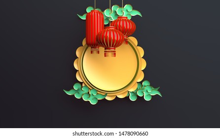 Red and gold traditional Chinese lanterns lampion, moon cake and paper cut cloud. Design creative concept of chinese festival celebration mid autumn, gong xi fa cai. 3D rendering illustration.