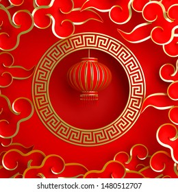 Red and gold traditional Chinese lanterns lampion, round border frame greek key and paper cut cloud. Design creative concept of chinese festival celebration gong xi fa cai. 3D rendering illustration.