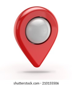 red gps icon (pointer) isolated white background with clipping path