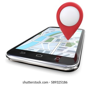 Red GPS Pointer on Map. Smartphone with Large Red GPS pointer on Screen Map. Copy Space, 3D render.