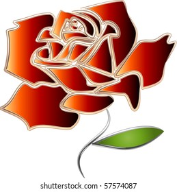 Red Gradient Rose with silver stem and leaves illustration