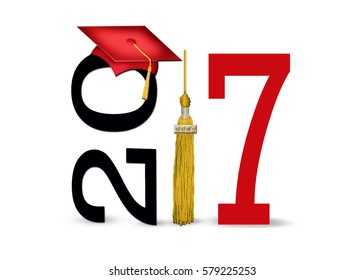 red graduation cap and gold tassel for class of 2017