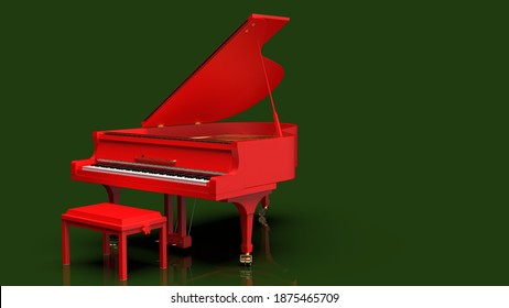 Red Grand Piano under Dark Green Background. 3D illustration. 3D high quality rendering. 3D CG.