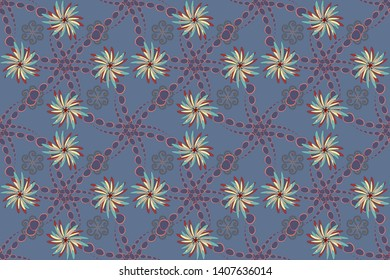 Red, gray and blue stained glass vitrage. Floral textile print. Seamless pattern morrocan ornament. Islamic raster oriental background with abstract flowers.