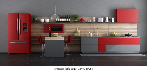 Red and gray contemporary kitchen with island and barstool - 3d rendering