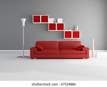 Red and gray minimalist living room - rendering