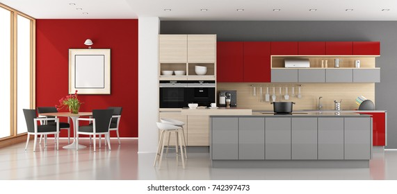 Red and gray modern kitchen with dining room - 3d rendering