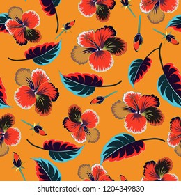Red, gray and orange seamless pattern. Tropical seamless pattern with many red, gray and orange hibiscus flowers.