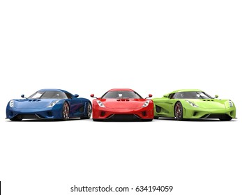 Red, green and blue supercars side by side - 3D Illustration