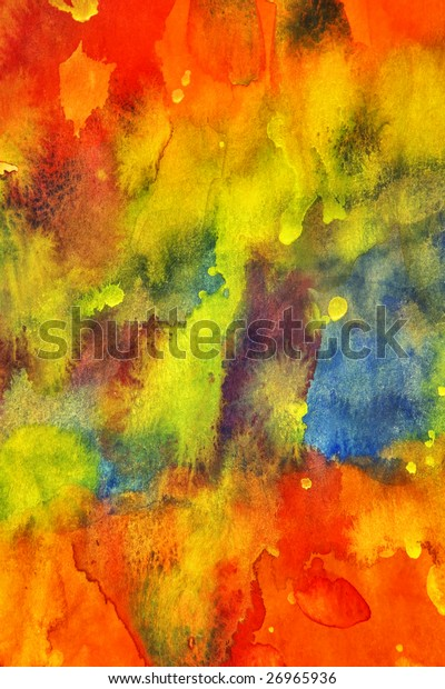 red green blue yellow watercolor painting, my handwork
